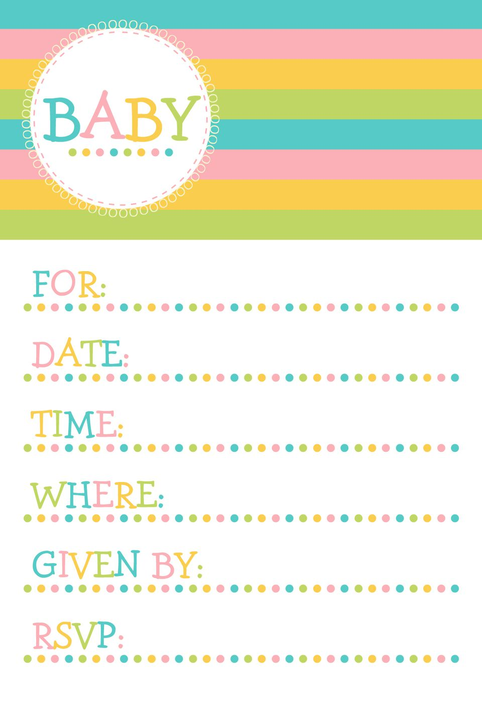 colorful gender neutral baby shower printable