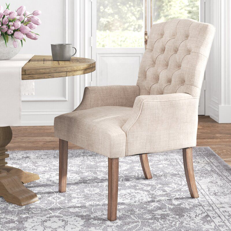 Kelly Clarkson Home Lila Tufted Linen Upholstered Arm Chair