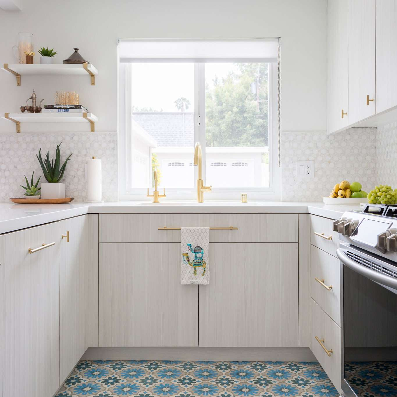 Colorful Floor Tiles in White Kitchen