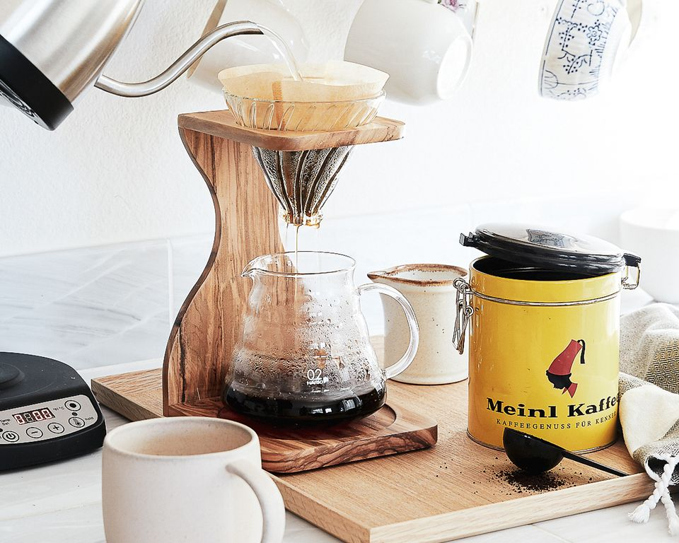 coffee bar on a kitchen counter