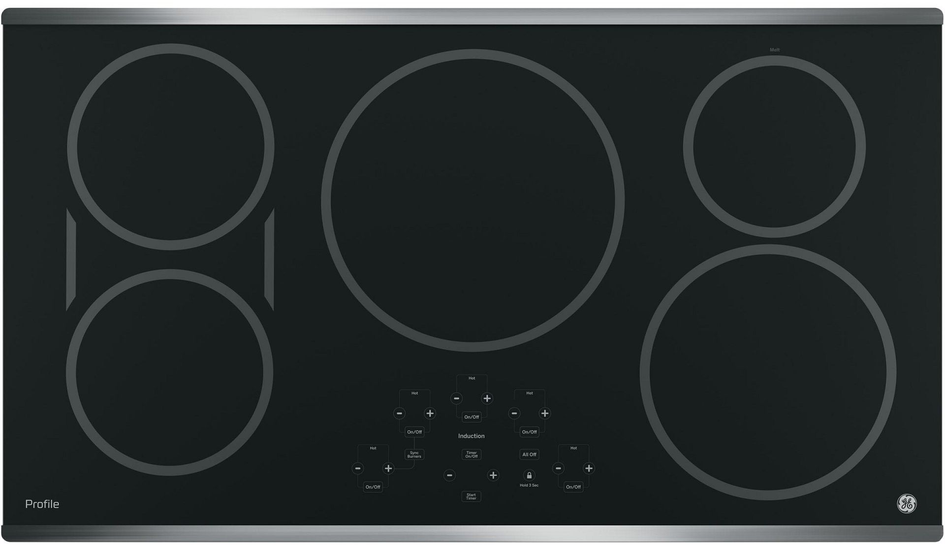 The GE 36 in. Built-In Electric Induction Cooktop has five heating elements for your convenience.