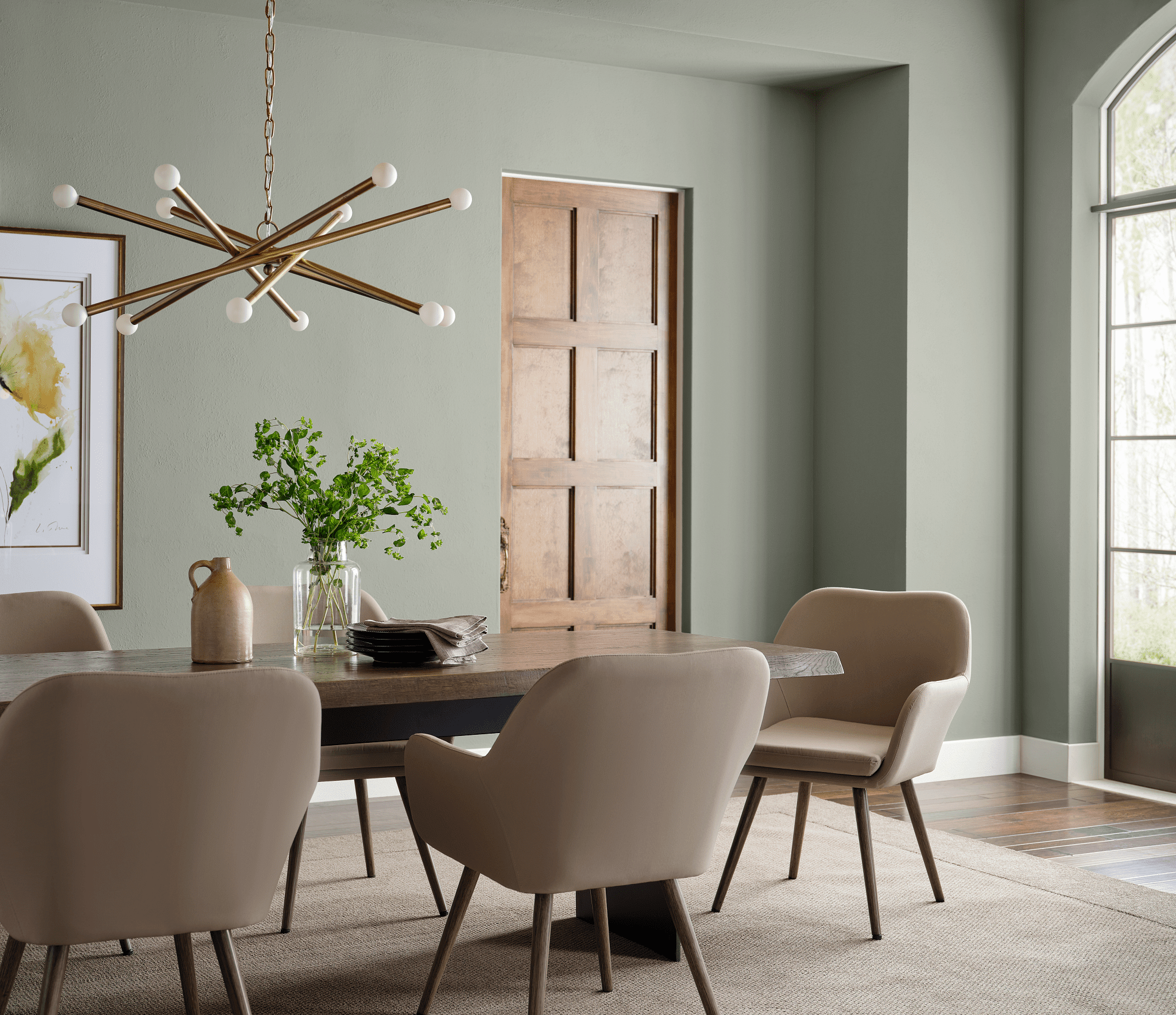 Sherwin-Williams Color of the Year 2022 Evergreen Fog in dining room