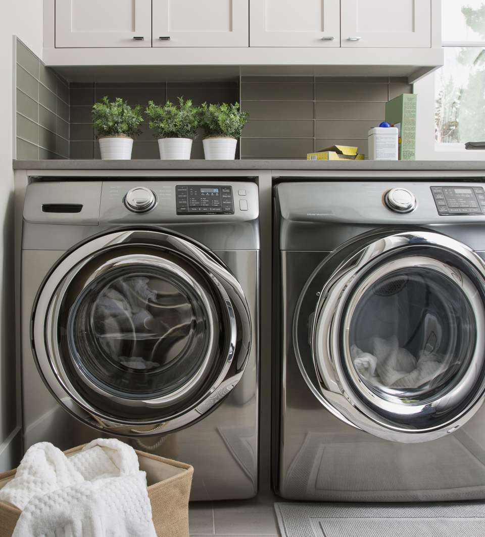 A silver washer and dryer