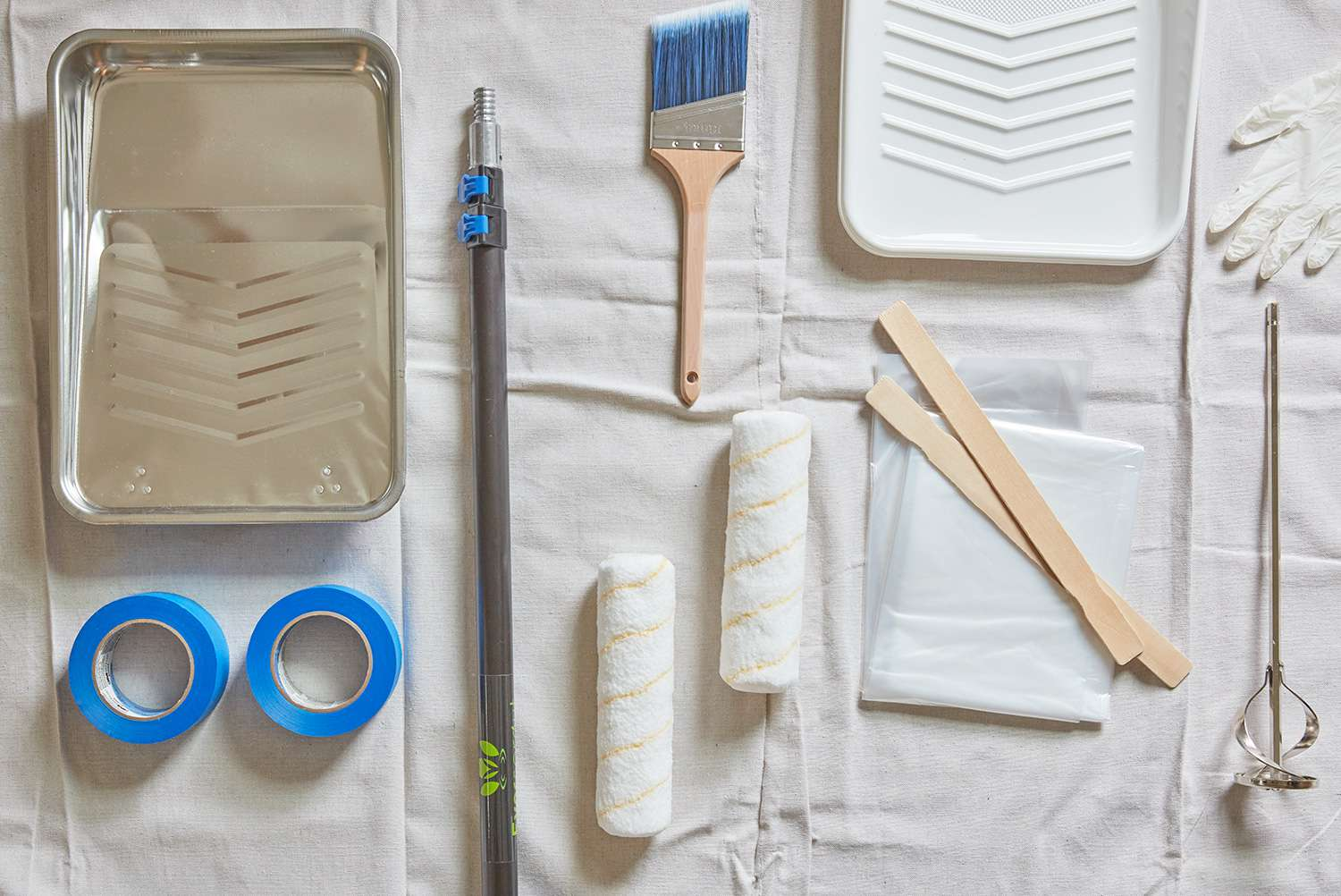 Tools and supplies to paint a ceiling