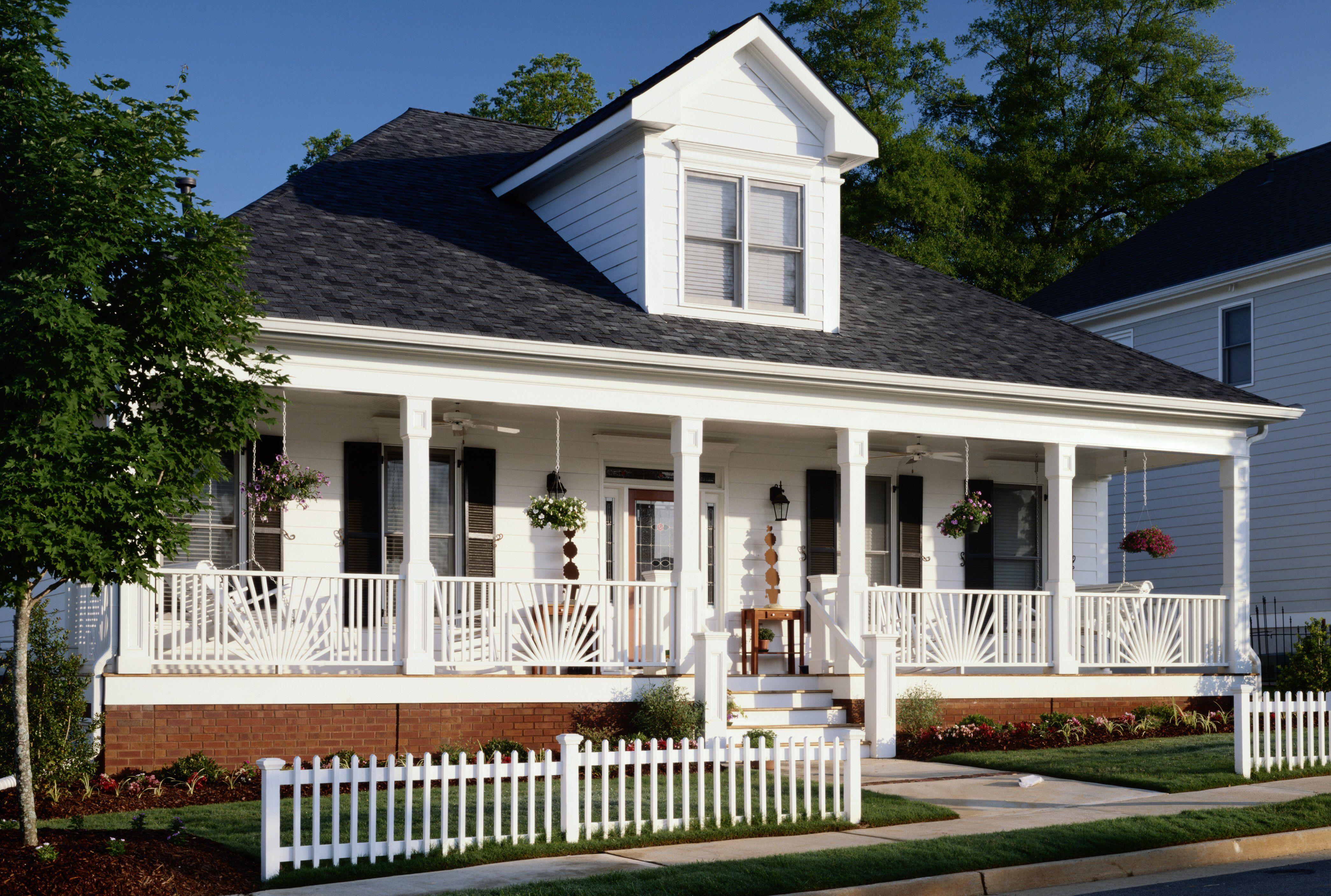 One story house near street, full width front porch, gable dormer