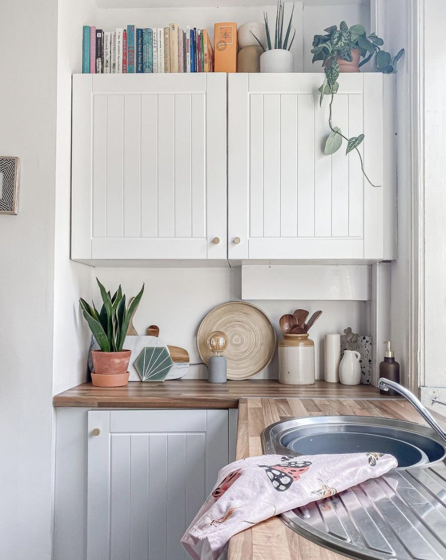 kitchen with white cabinets and cookbooks and plants placed on top