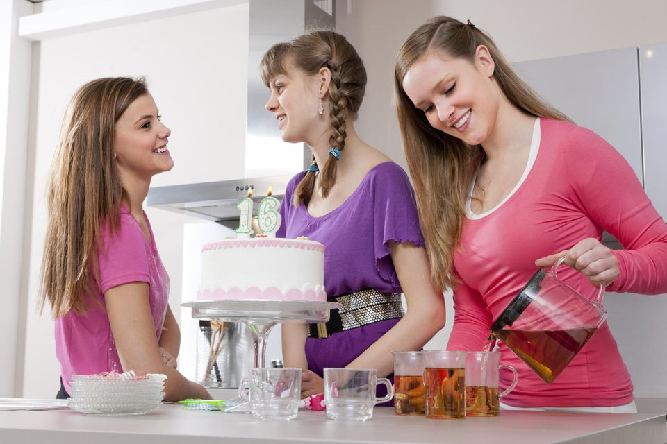 Teenage girls celebrating a birthday