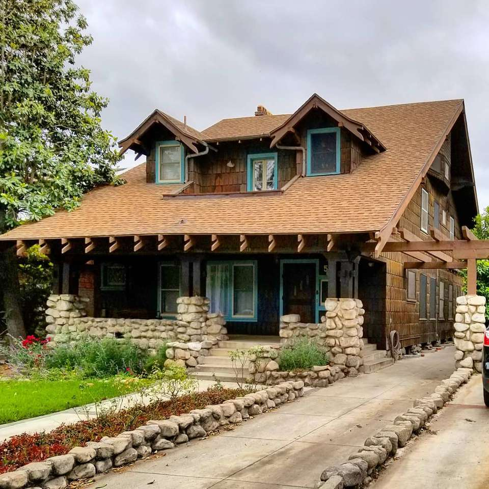 Brown craftsman style home