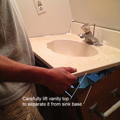 how to remove a bathroom vanity cabinet. Black Bedroom Furniture Sets. Home Design Ideas