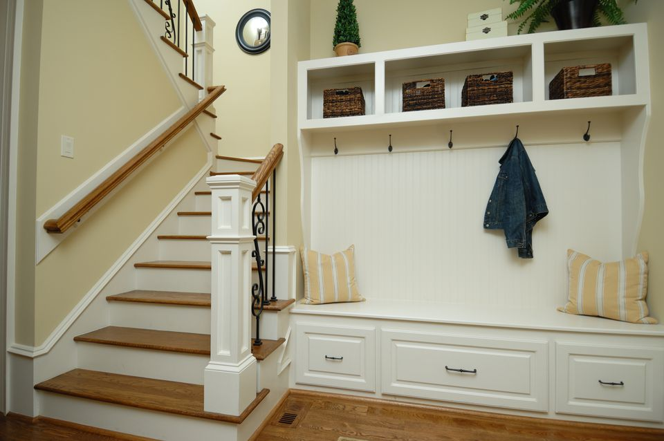 Built in mudroom by staircase