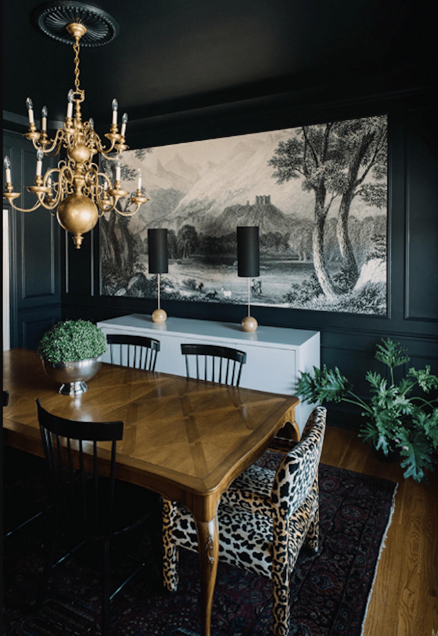 moody romantic black dining room