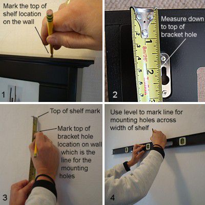 Измерение стены для установки полки