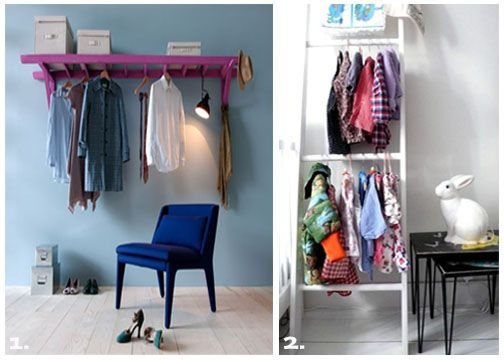 Mounted ladder doubles as a DIY closet