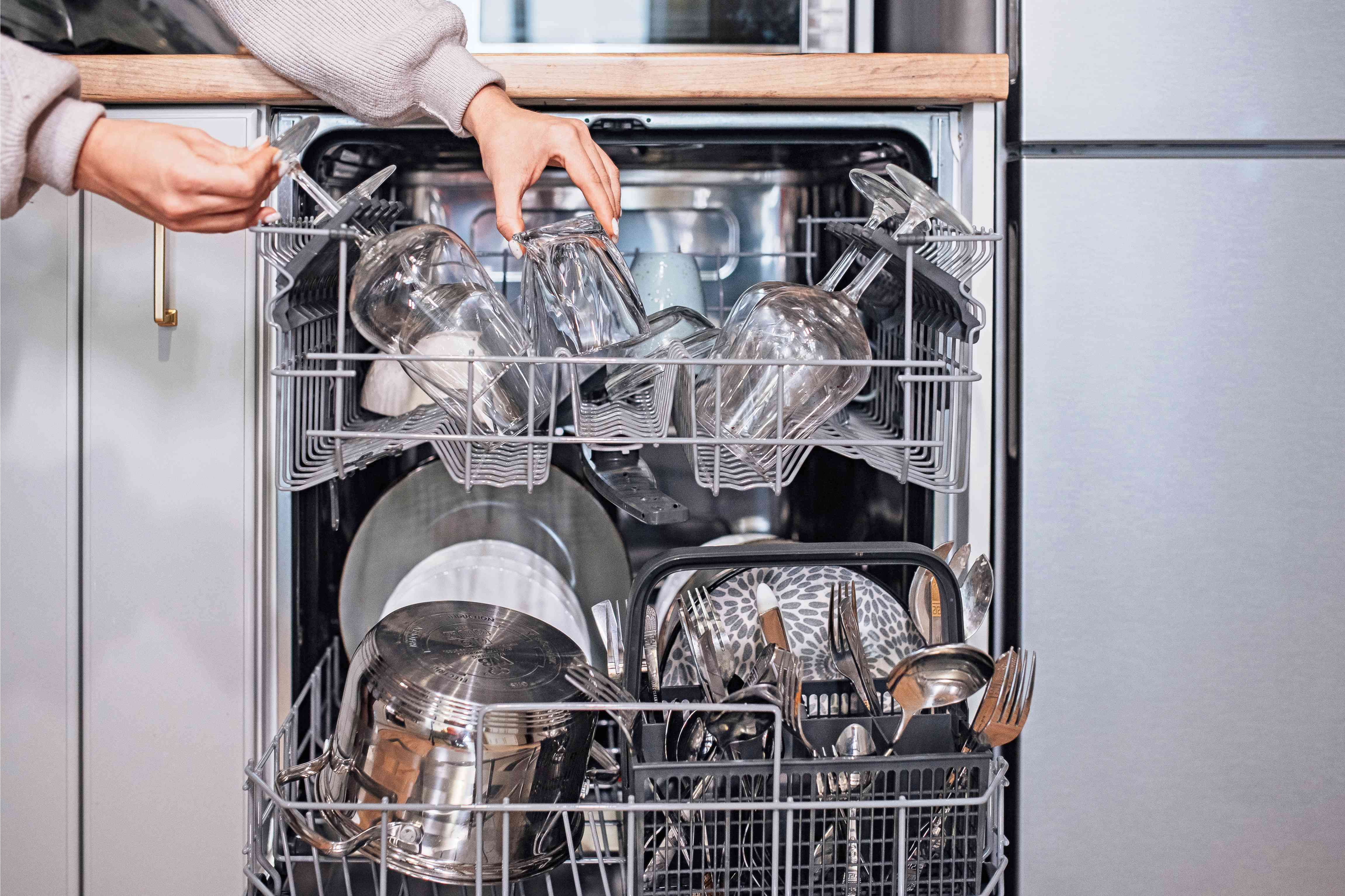 deciding which rack to load dishes on