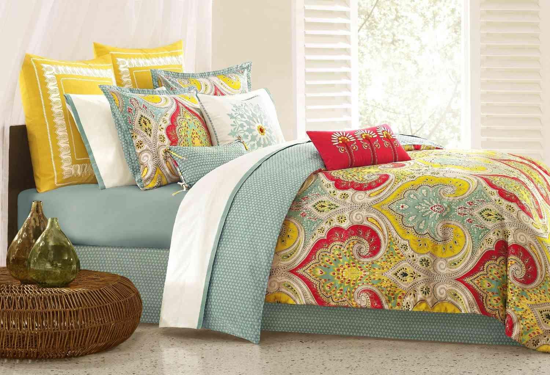 Juego de cama rojo, amarillo y azul