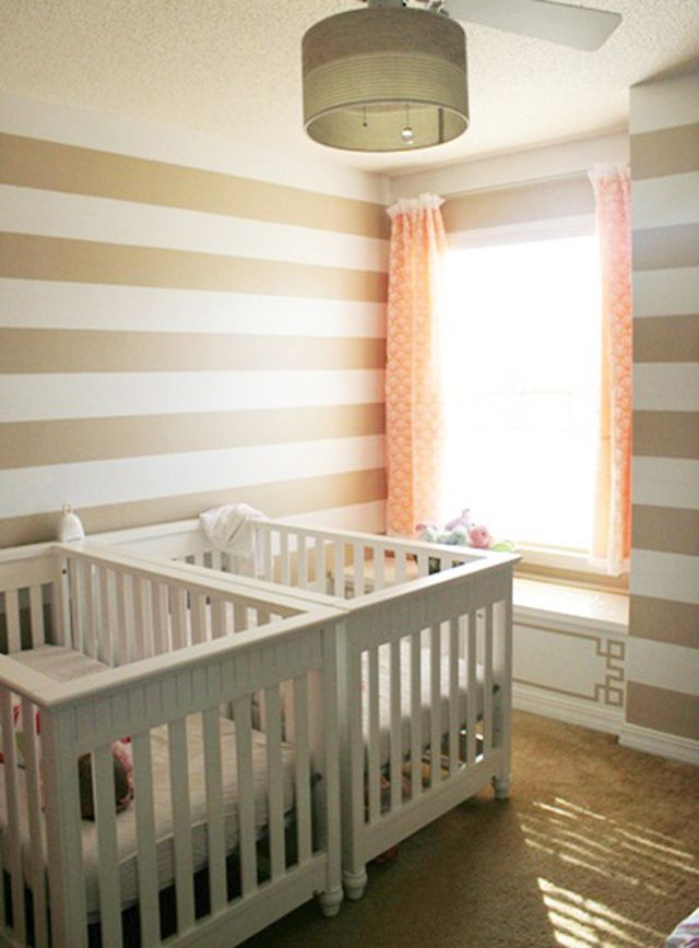 Space Saving Twin Nursery Crib Placement