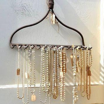 jewelry hanging on a rake
