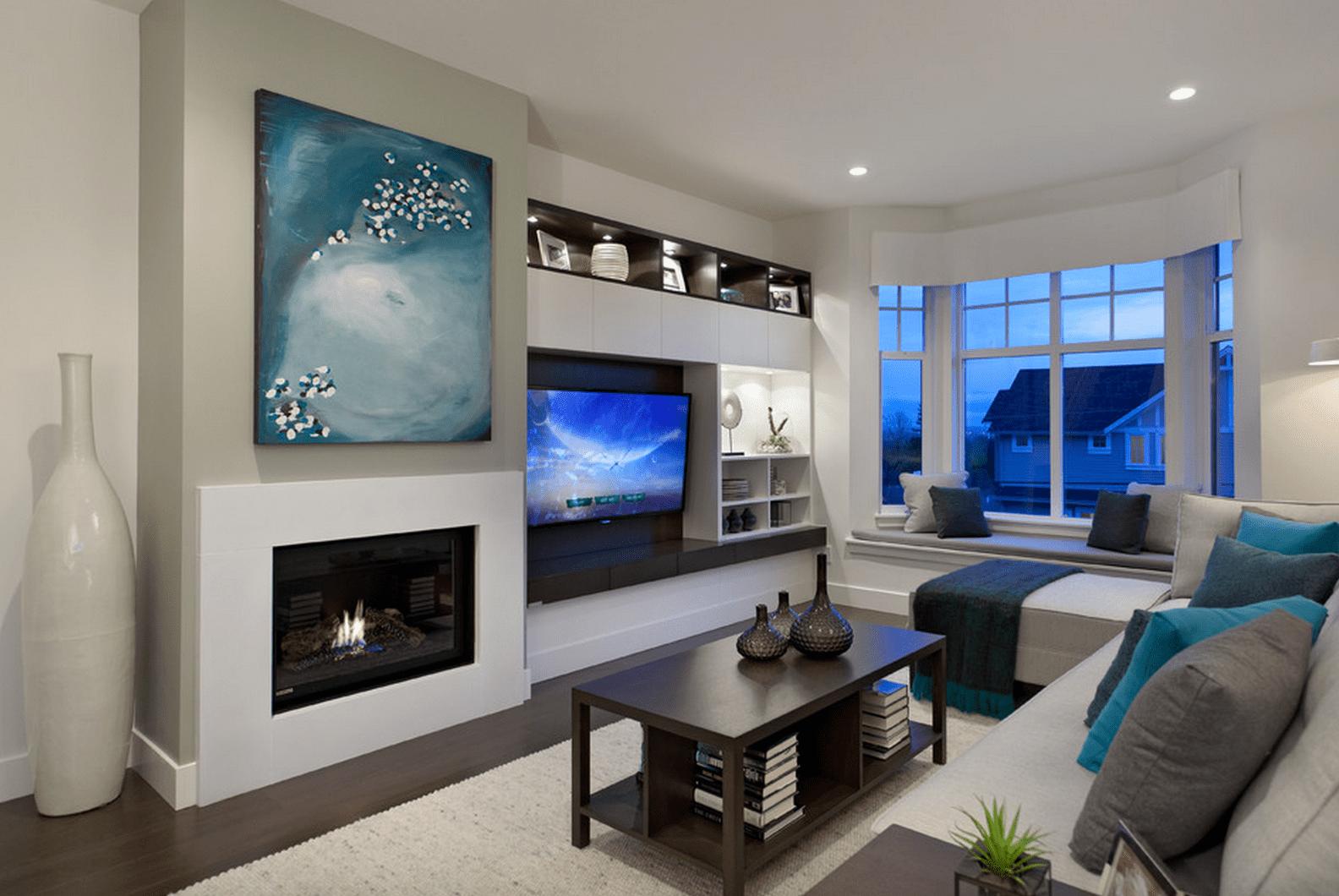 Contemporary living room with custom built ins
