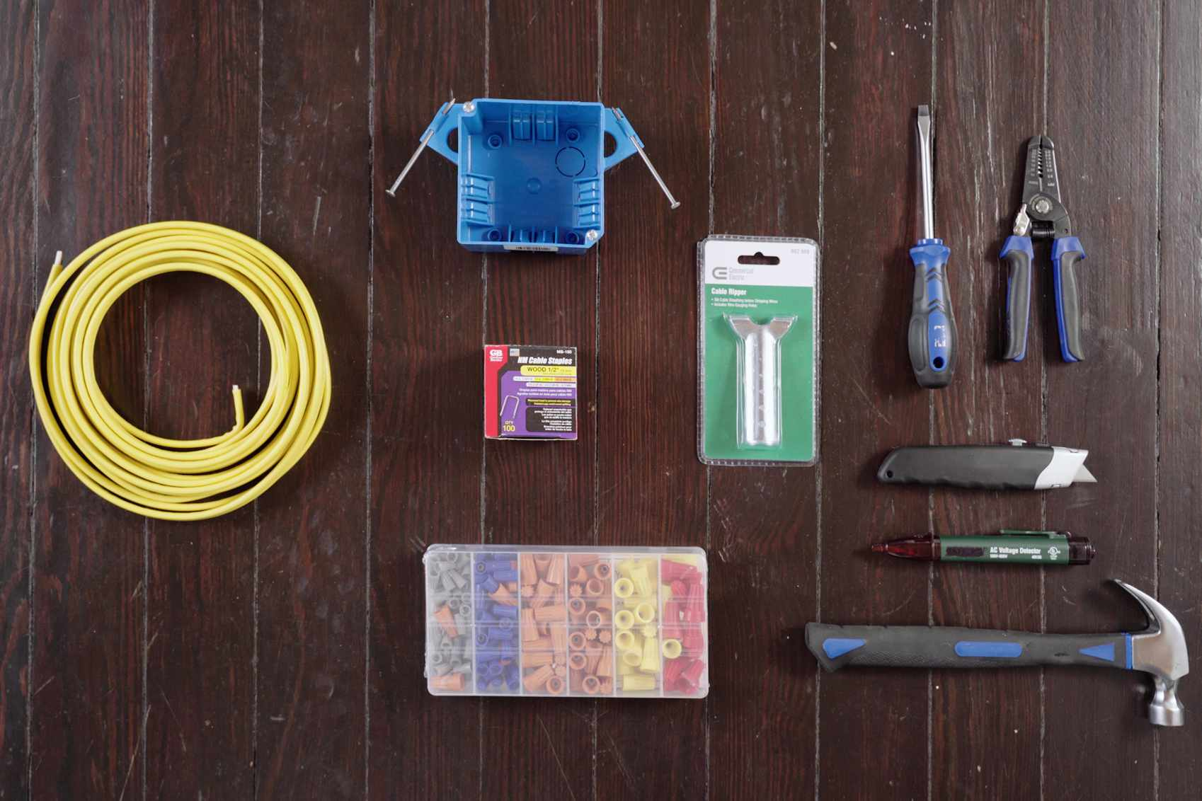 Materials and tools to install an electrical junction box