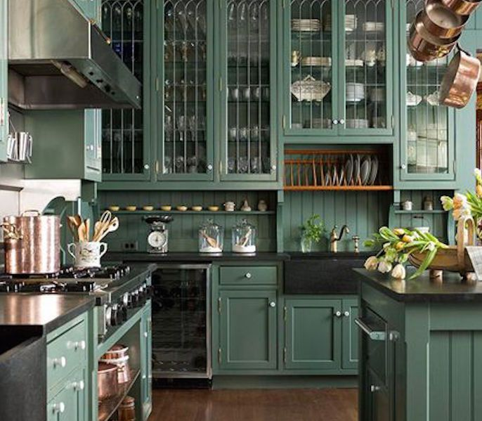 Dark Green Kitchen: 15 Beautiful Feng Shui Kitchen Colors