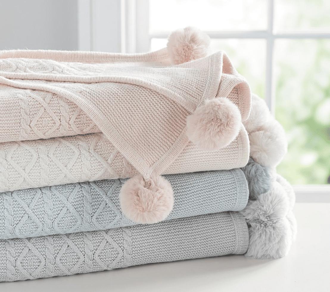 Monique Lhuillier Cable Knit Pom-Pom Baby Blanket