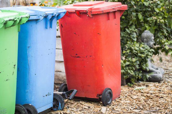Brightly painted trash bins