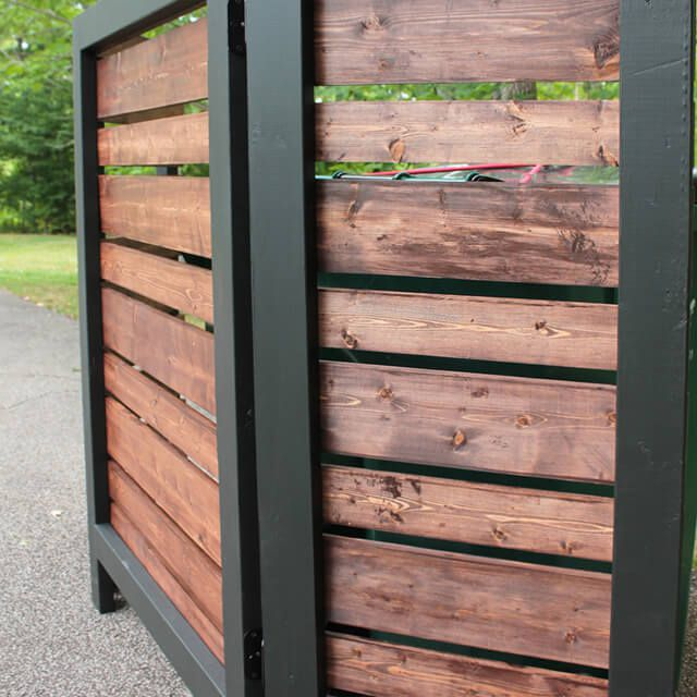 A black and brown privacy screen outside