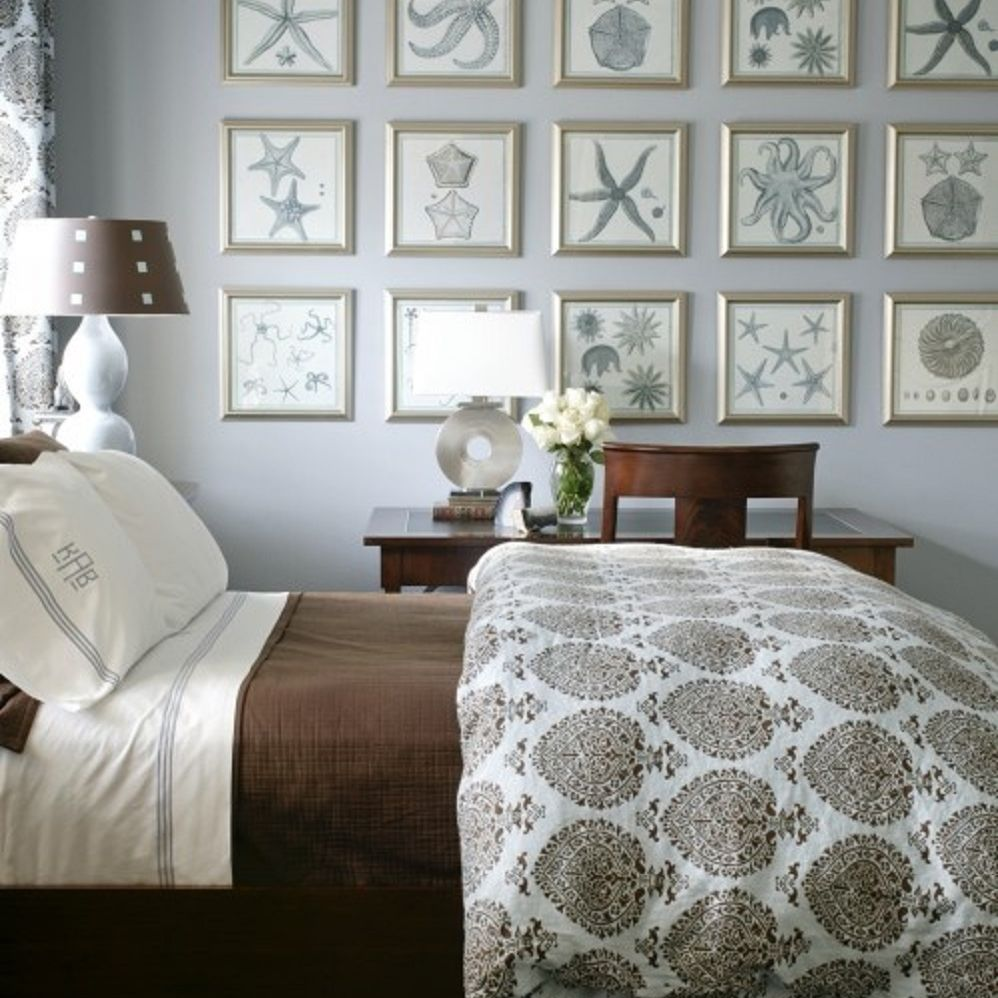 Gallery wall in beach bedroom