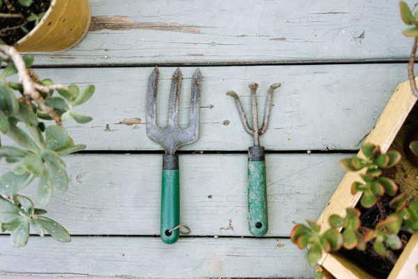 dirty gardening tools