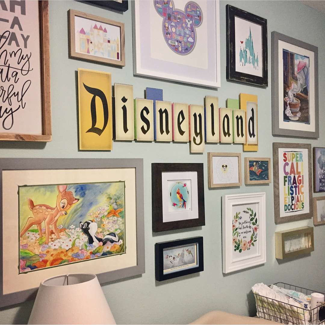 Disney Nursery Gallery Wall with Vintage Disney Land Sign