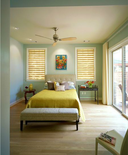 Light Green Contemporary Bedroom