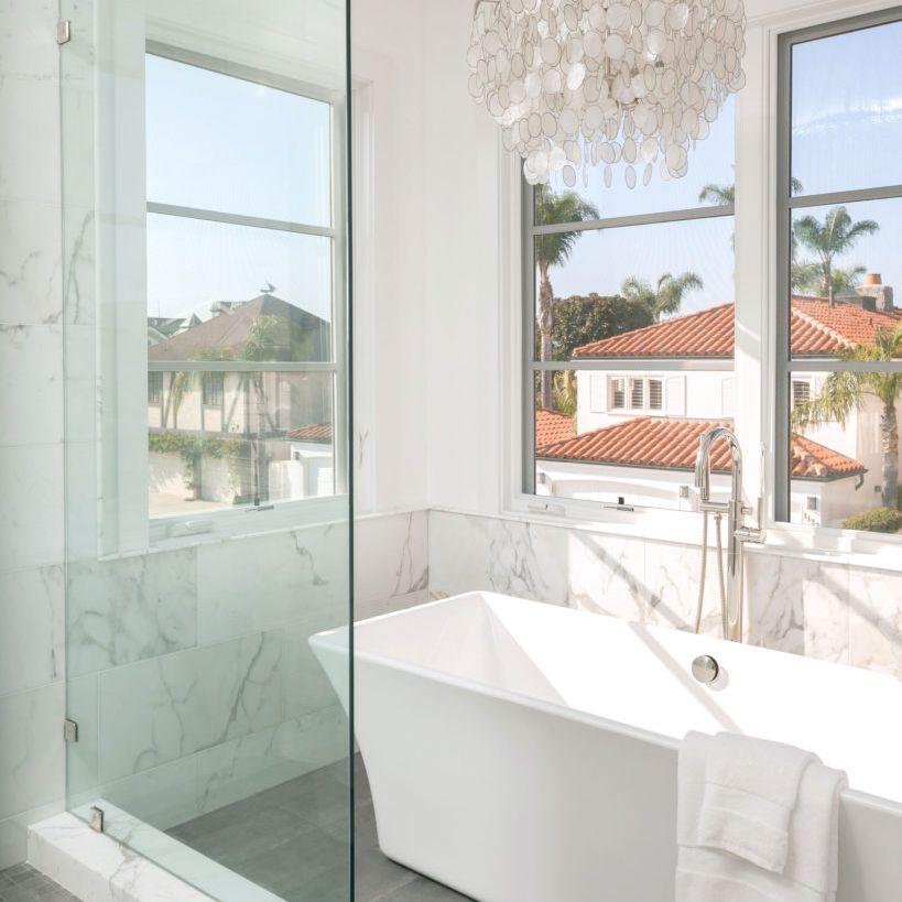 mother of pearl chandelier in bathroom