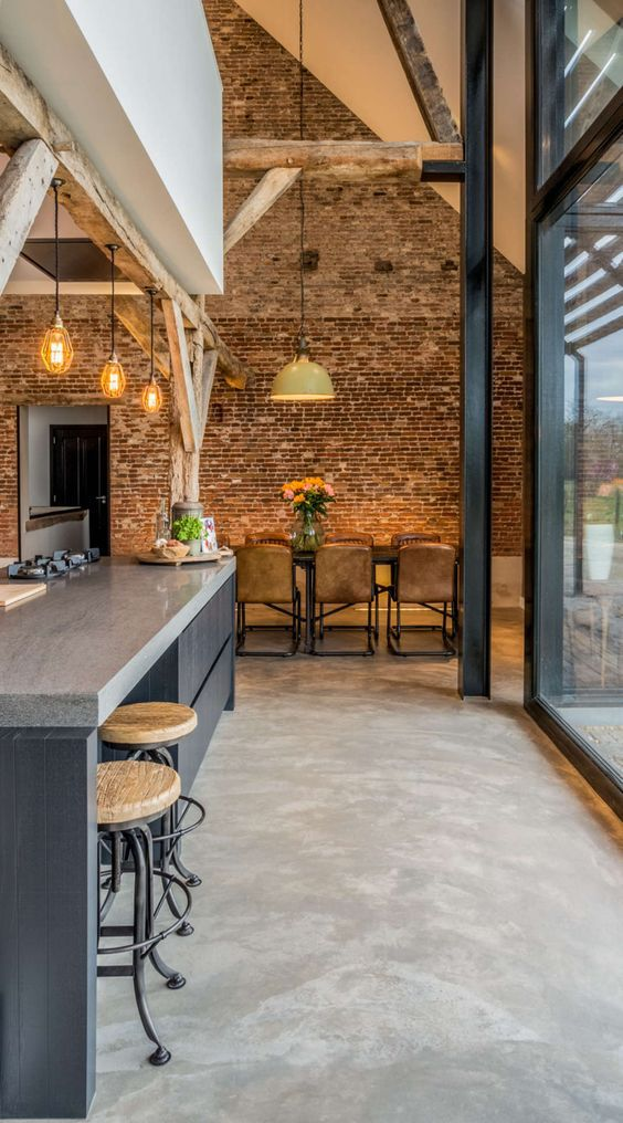 Industrial style kitchen/dining room