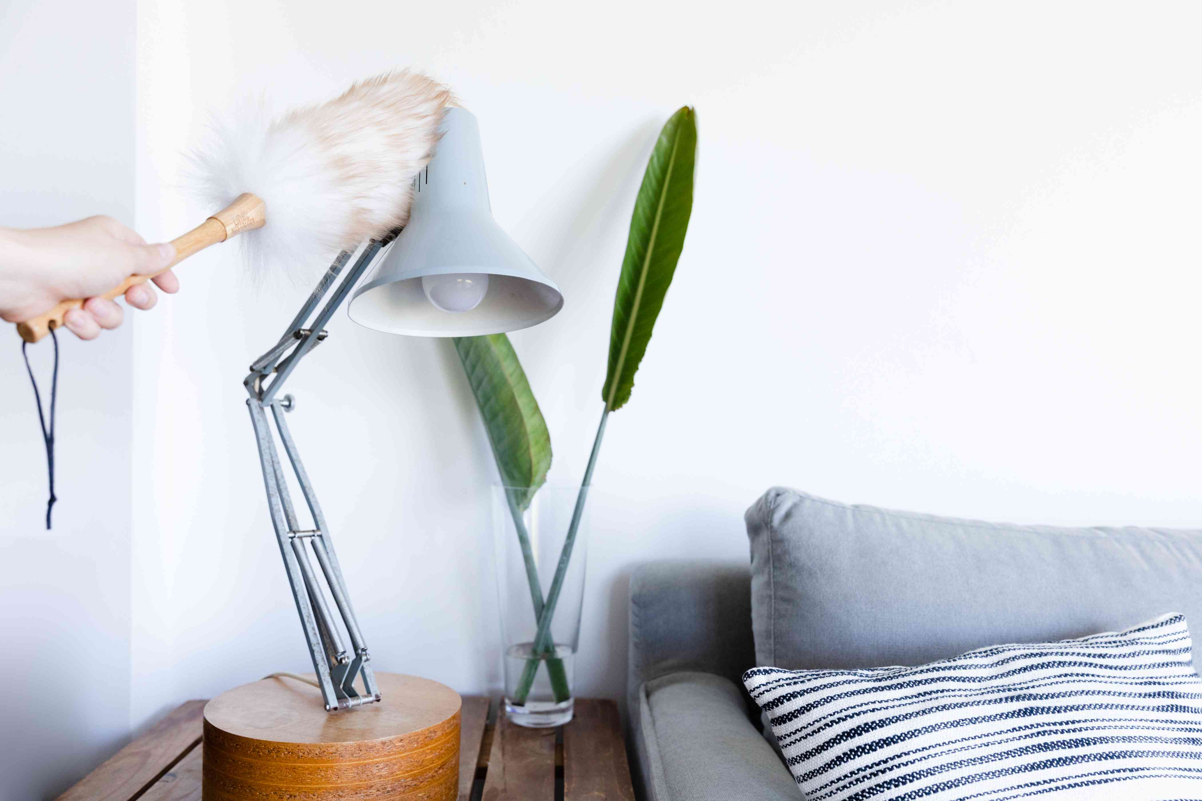 dusting lamps and knick knacks