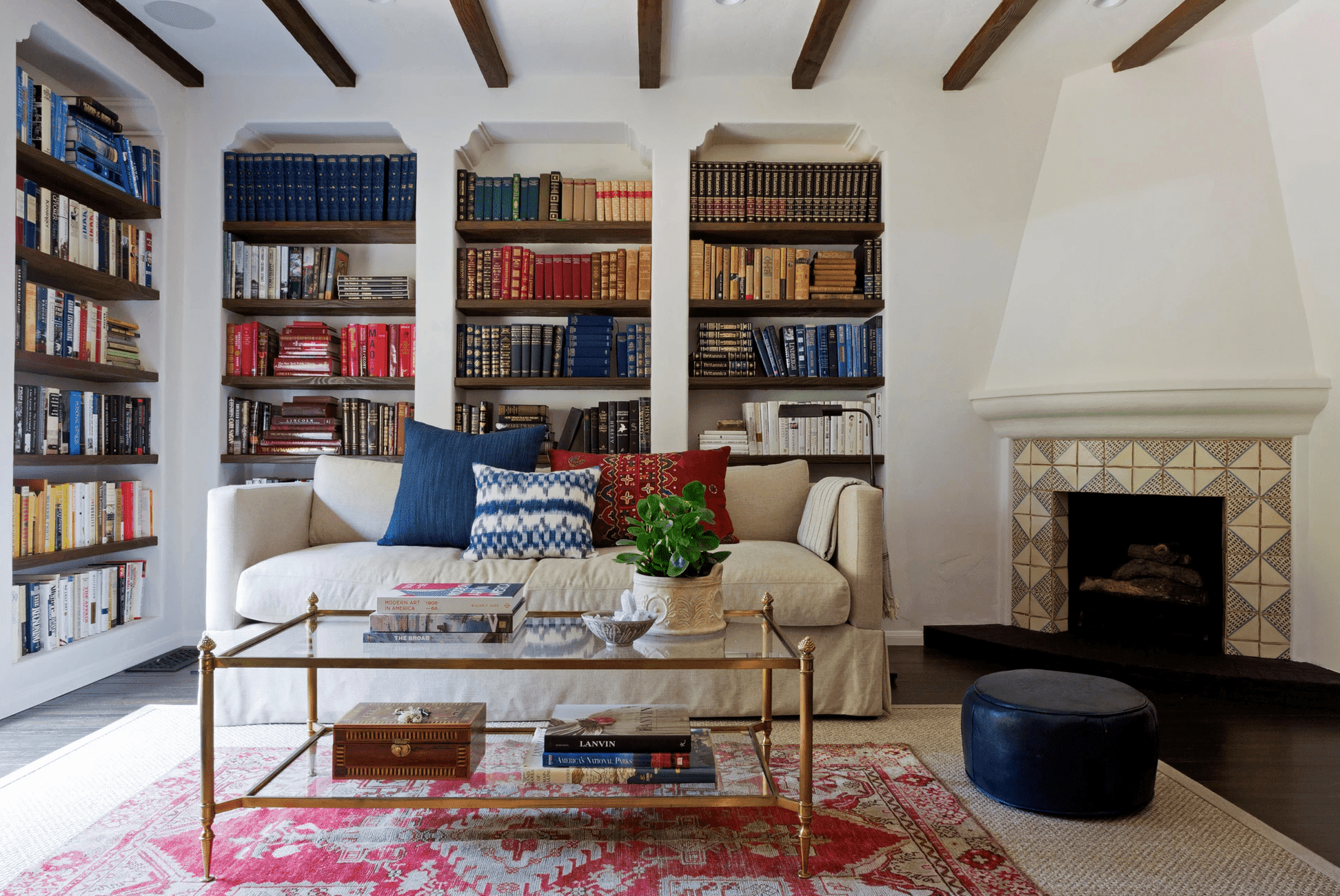 layered area rugs in a living room