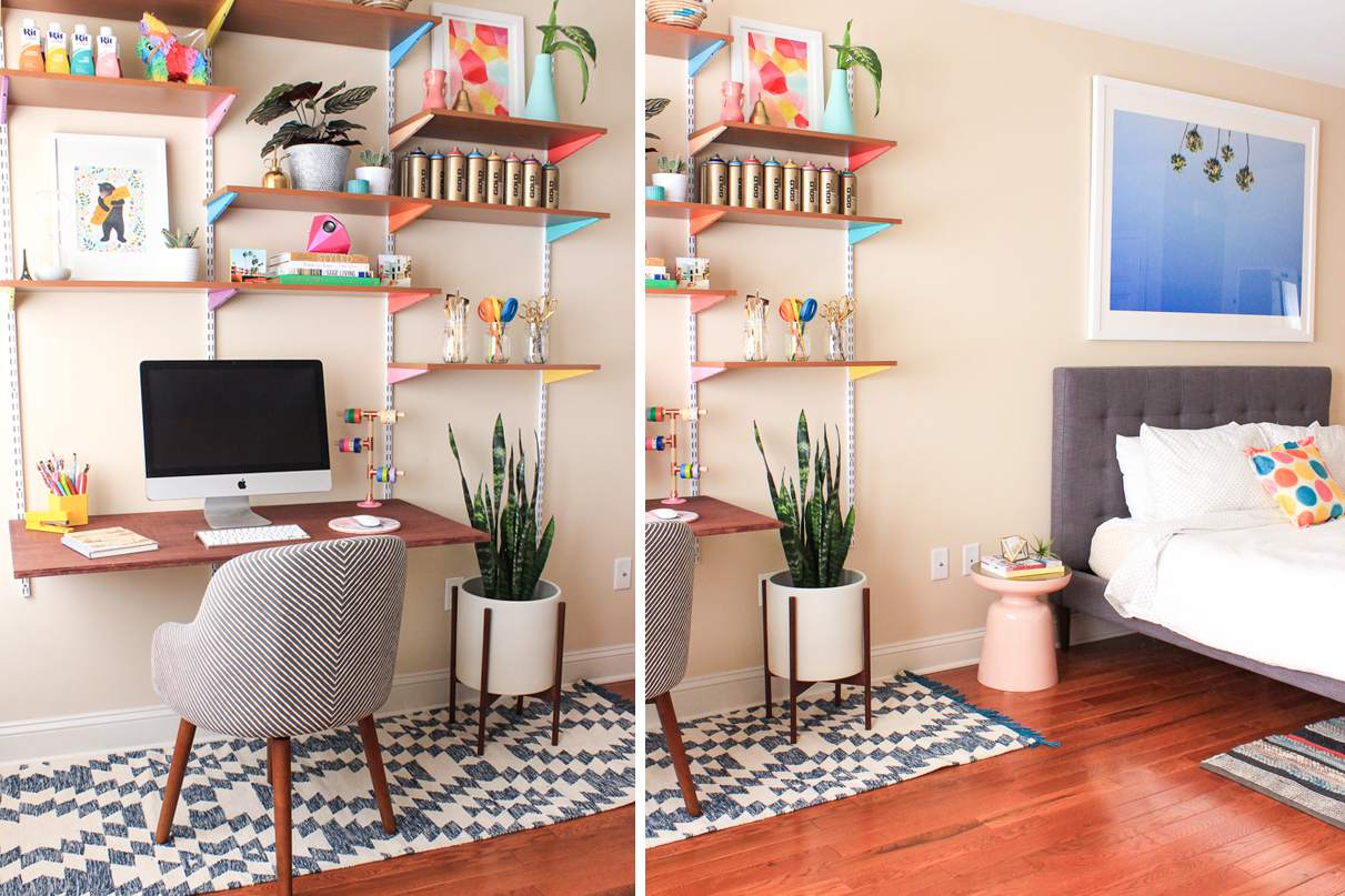 Colorful bedroom home office
