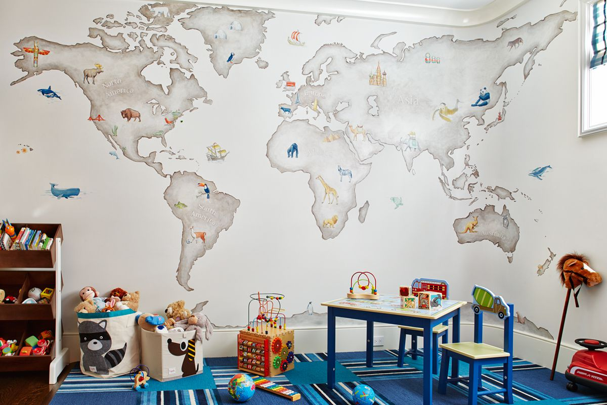 Playroom with world map