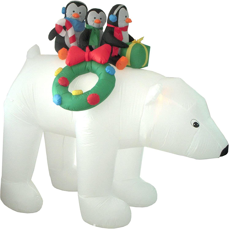Christmas Inflatable 3 Penguins Riding a Polar Bear