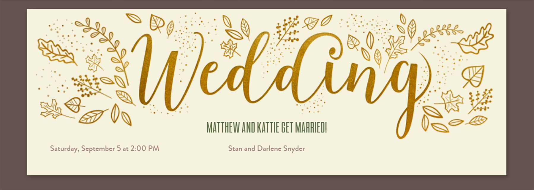 A brown and gold online wedding invite with fall leaves drawn on it