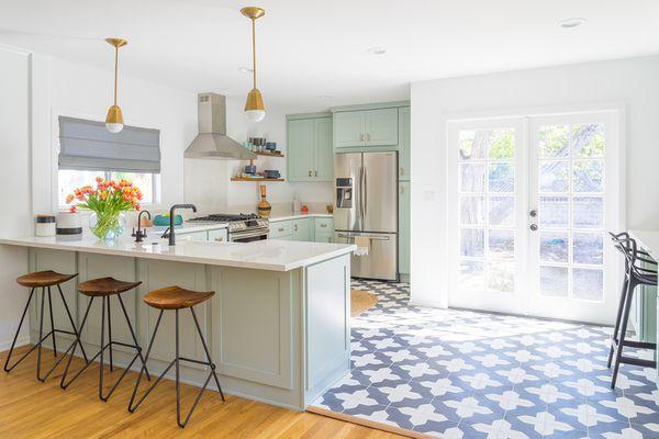patterned floor tile in kitchen