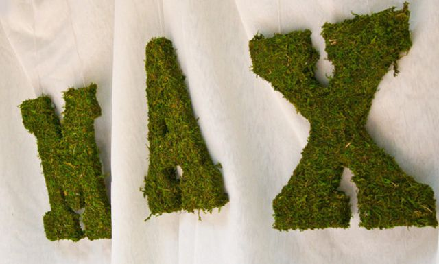Mossy, woodland-themed nursery letters