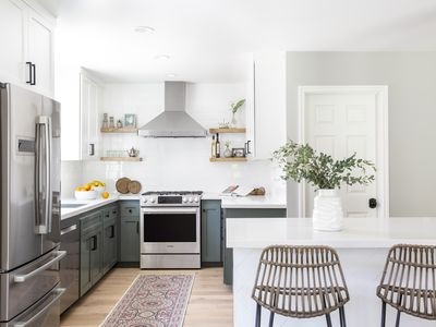 Fresh White Kitchen with Green Cabinets