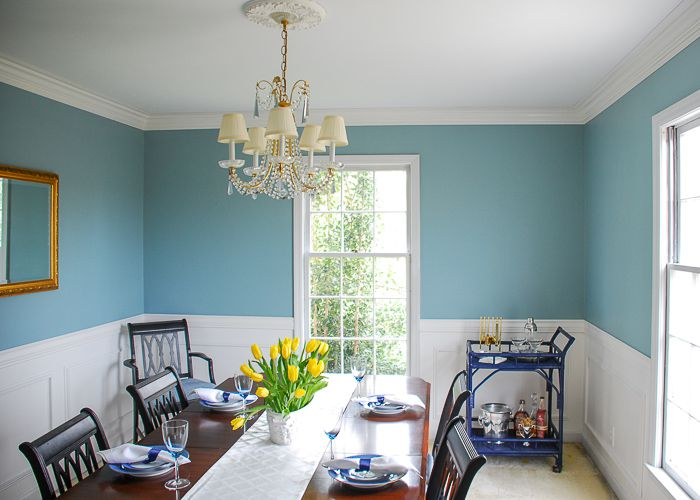 blue walls and crown molding