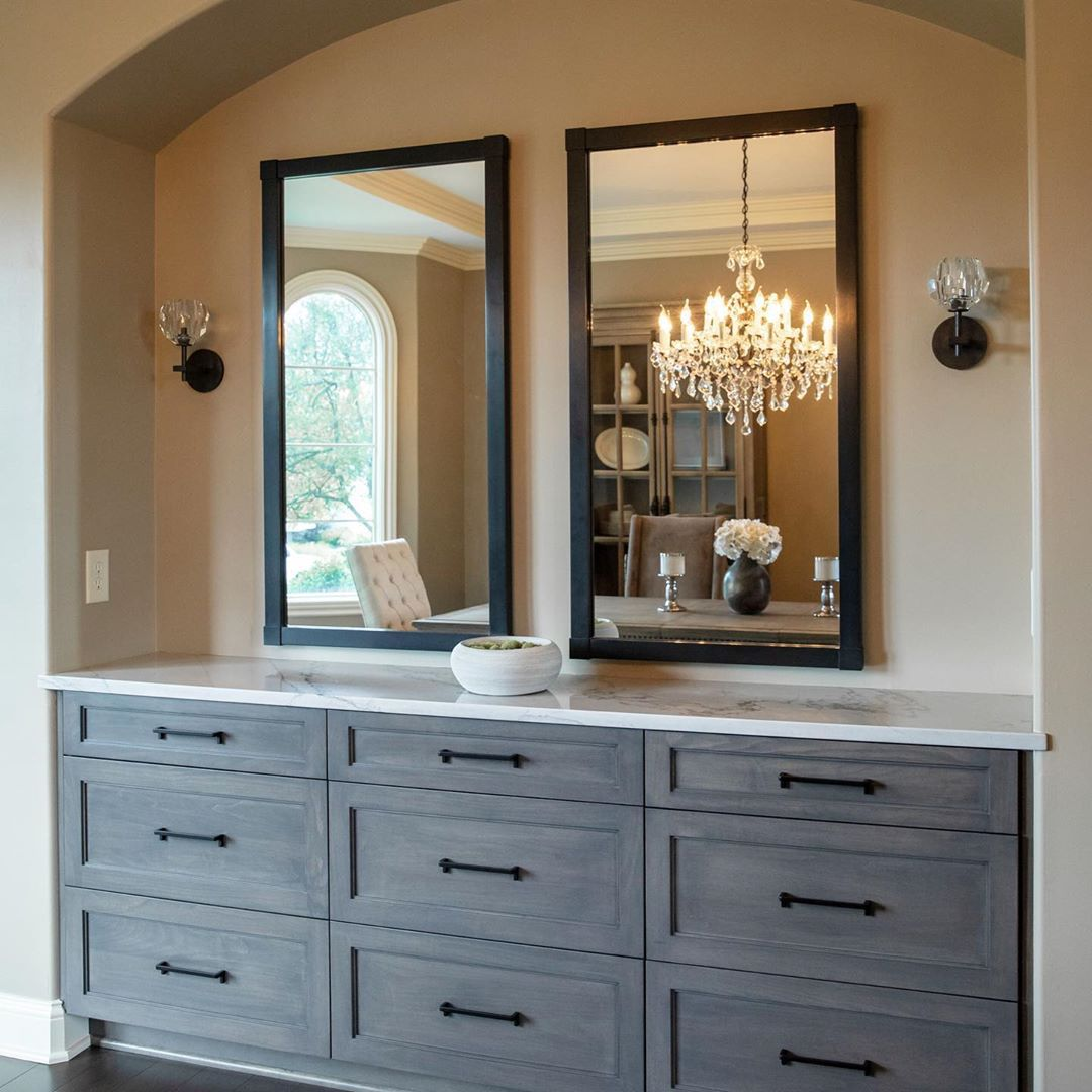Buffet with dark gray stain