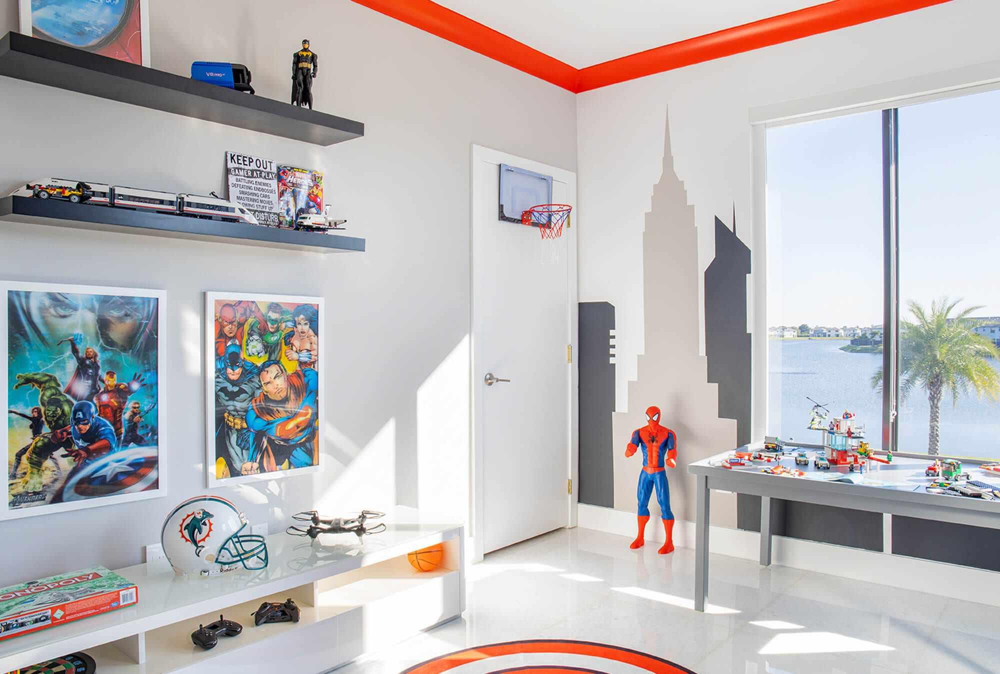 Colorful superhero boys bedroom