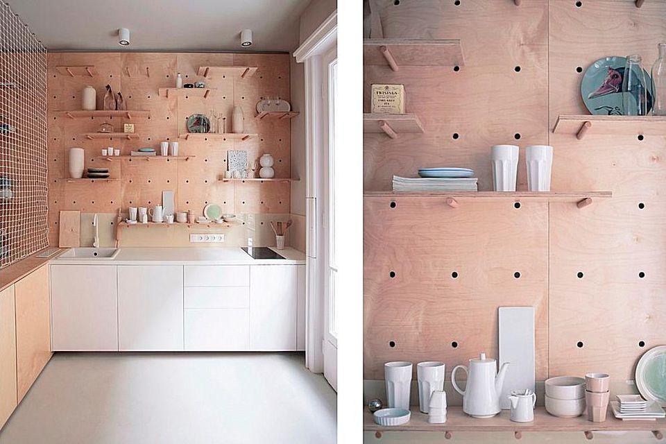 Peg board storage in kitchen