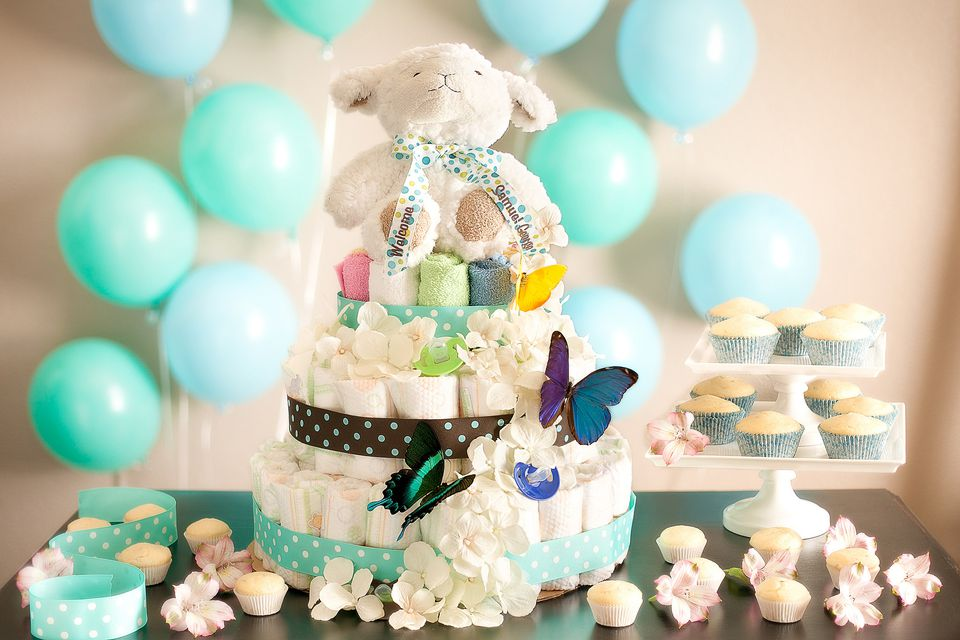 An adorable diaper cake at a baby shower