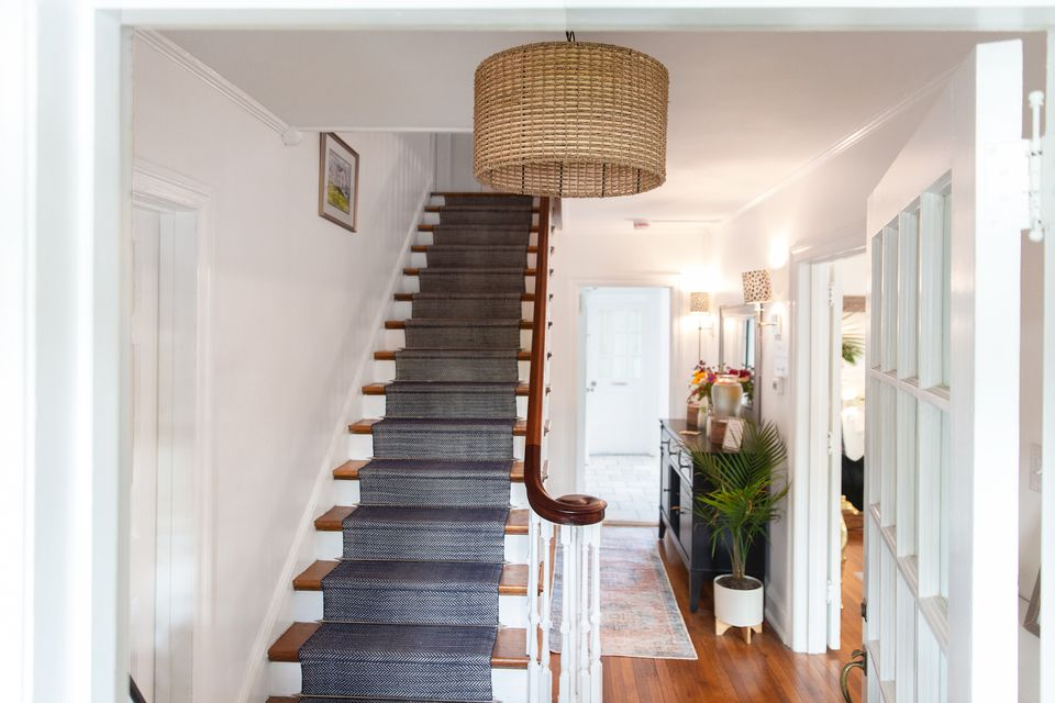A staircase facing the front door in a home