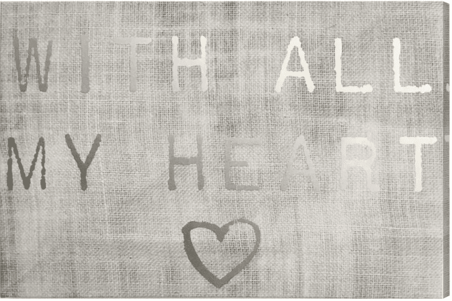 """""""With All My Heart"""" Silver Foil Textual Art on Canvas"""