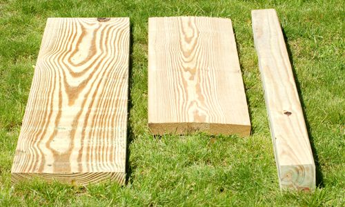 Lumber cut to the needed lengths